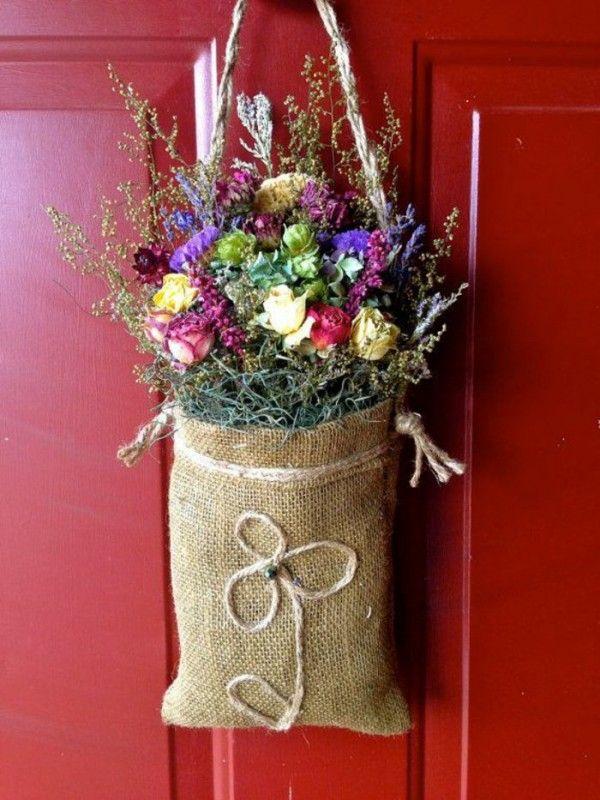 dried flowers on the door